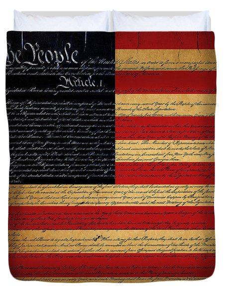 We The People - The Us Constitution With Flag - Square Duvet Cover