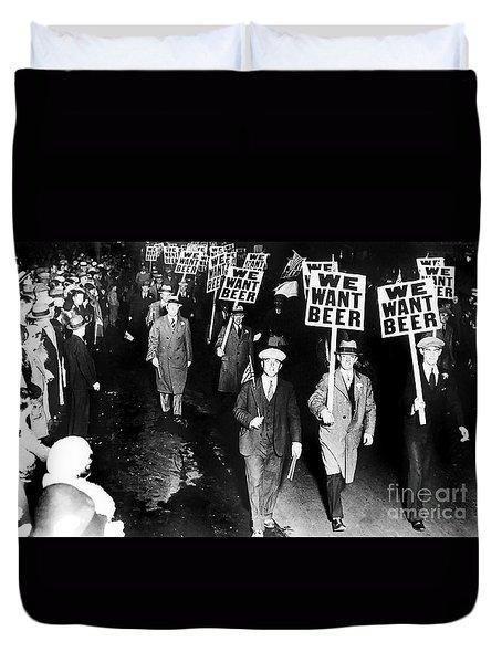 We Want Beer Duvet Cover by Jon Neidert