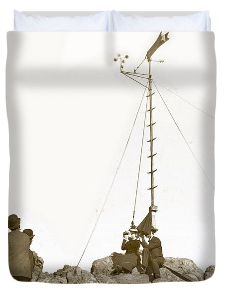Duvet Cover featuring the photograph Weather Station Mount Tamalpais Marin County California Circa 1902 by California Views Mr Pat Hathaway Archives