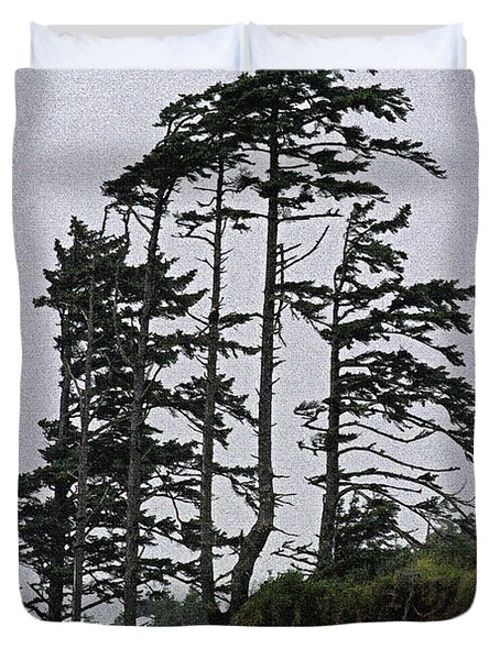 Weathered Fir Tree Above The Ocean Duvet Cover by Tom Janca