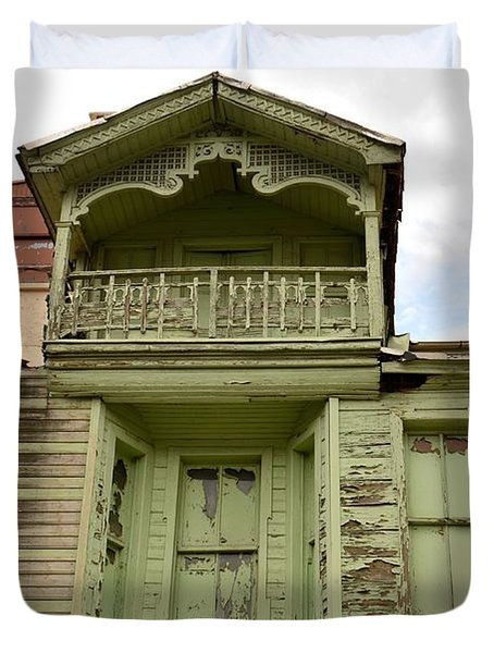 Duvet Cover featuring the photograph Weathered Old Green Wooden House by Imran Ahmed
