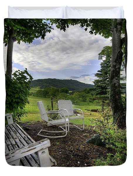 Duvet Cover featuring the photograph Weathered Rest by Tim Stanley