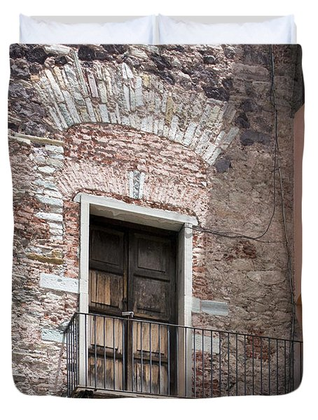 Duvet Cover featuring the photograph Weathered Wooden Church Doors by Lynn Palmer
