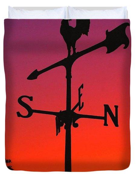 Weathervane At Sunset Duvet Cover by Nick Zelinsky