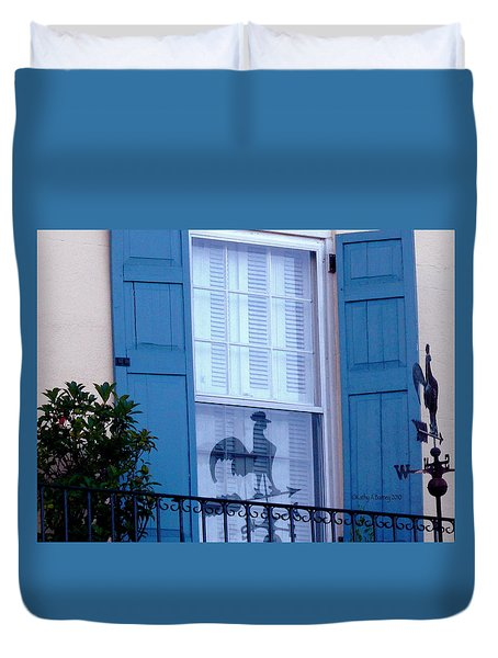 Duvet Cover featuring the photograph Charleston Weathervane Reflection by Kathy Barney