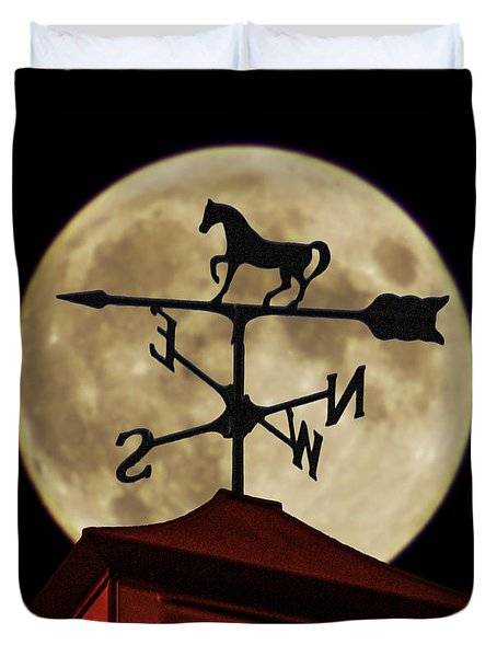 Weathervane Before The Moon Duvet Cover