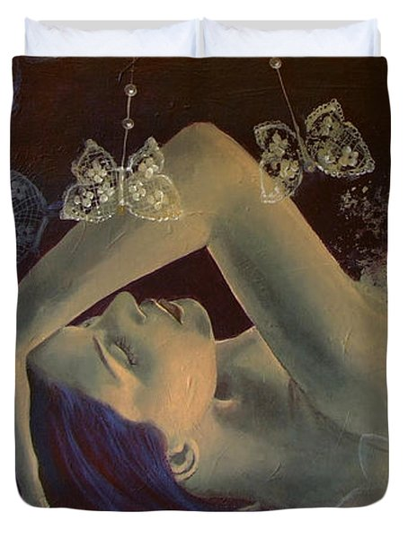 Weaving Lace Wings... Duvet Cover by Dorina  Costras