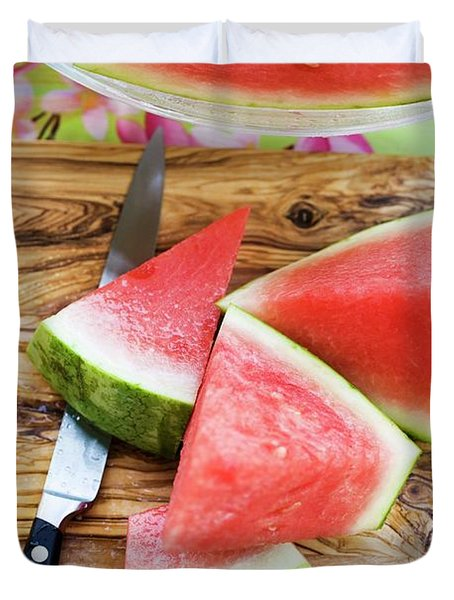 Wedges Of Watermelon And Knife On A Wooden Board Duvet Cover