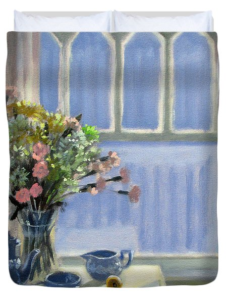 Wedgewood Blues - Flowers By The Window Duvet Cover