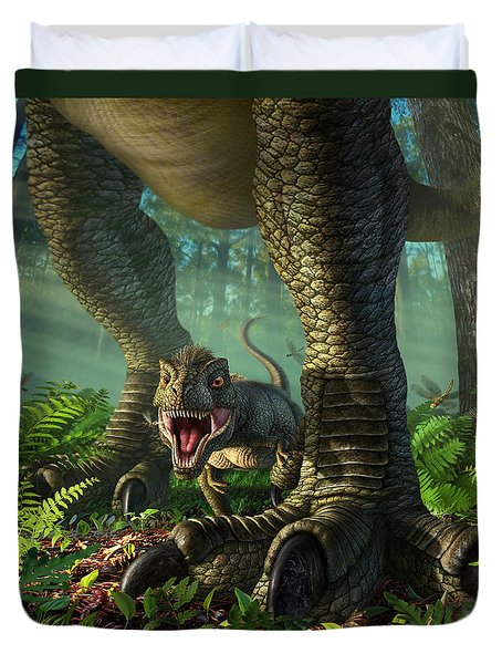 Wee Rex Duvet Cover by Jerry LoFaro