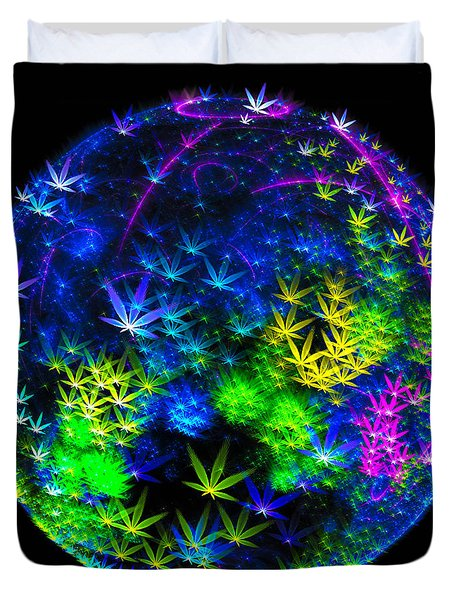 Weed Planet Full Of Cannabis Plants Duvet Cover
