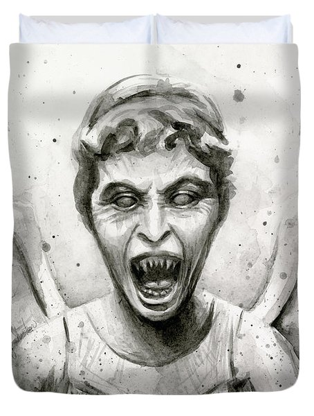 Weeping Angel Watercolor - Don't Blink Duvet Cover