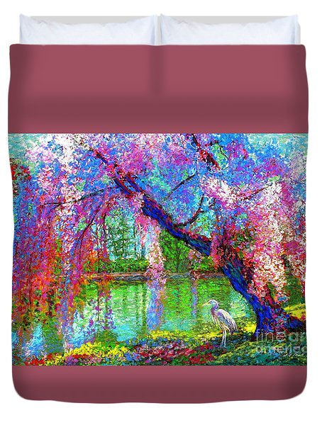 Weeping Beauty, Cherry Blossom Tree And Heron Duvet Cover
