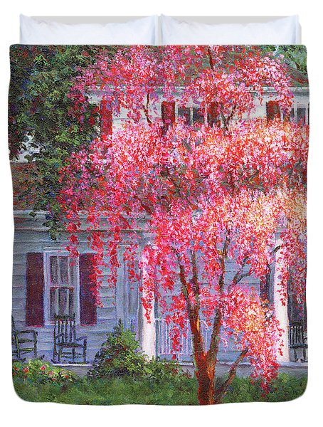 Weeping Cherry By The Veranda Duvet Cover