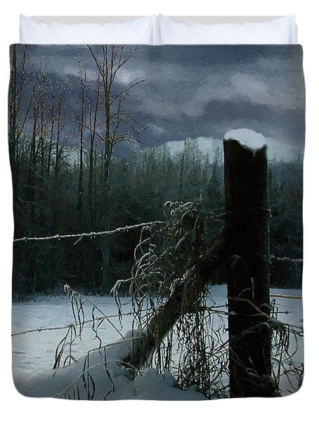 Weeping Winter Moon Duvet Cover by RC deWinter