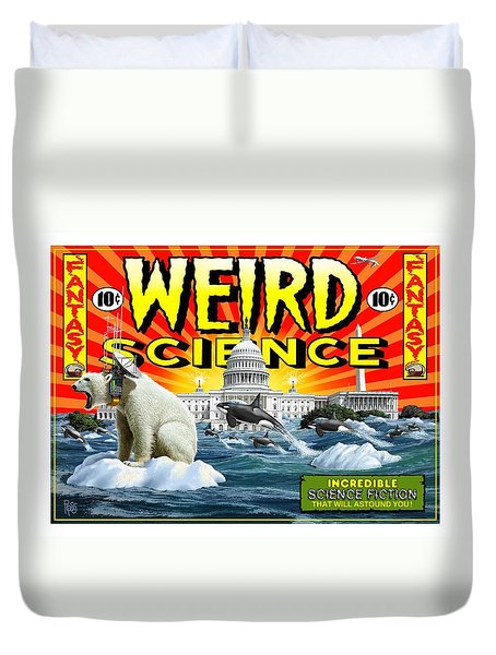 Duvet Cover featuring the digital art Weird Science by Scott Ross