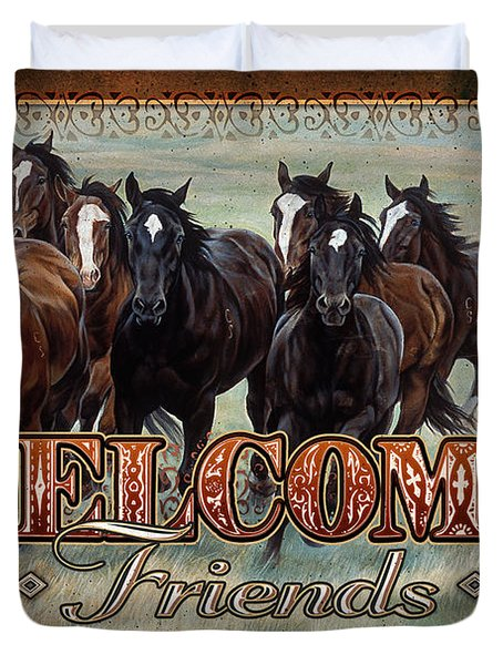 Duvet Cover featuring the painting Welcome Friends Horses by JQ Licensing