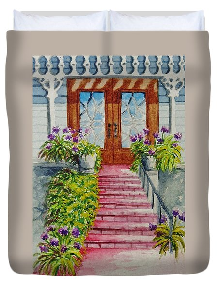 Duvet Cover featuring the painting Welcome by Katherine Young-Beck