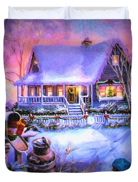 Duvet Cover featuring the digital art Welcome Santa - Retro Vintage Inspired Christmas Scene by Lianne Schneider