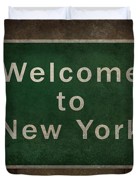 Welcome To New York Highway Road Side Sign Duvet Cover