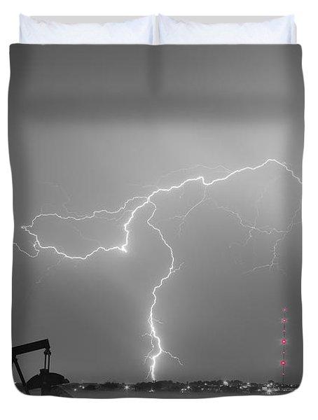 Weld County Dacona Oil Fields Lightning Thunderstorm Bwsc Duvet Cover by James BO  Insogna