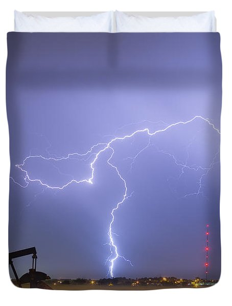 Weld County Dacona Oil Fields Lightning Thunderstorm Duvet Cover by James BO  Insogna