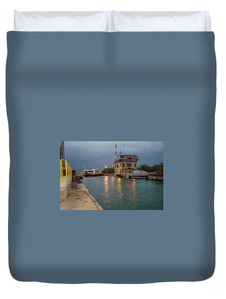Duvet Cover featuring the photograph Welland Canal Locks by Barbara McDevitt