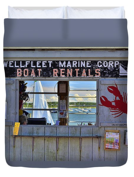 Wellfleet Harbor Thru The Window Duvet Cover by Allen Beatty