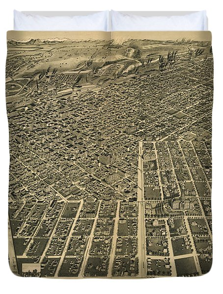 Wellge's Birdseye Map Of Denver Colorado - 1889 Duvet Cover