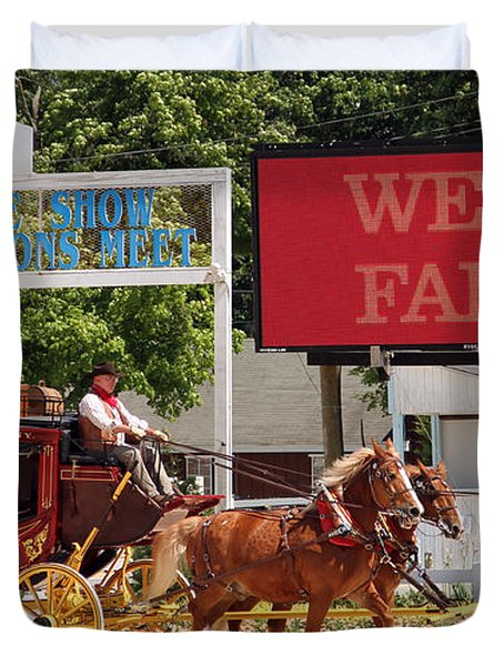 Duvet Cover featuring the photograph Wells Fargo At Devon by Alice Gipson