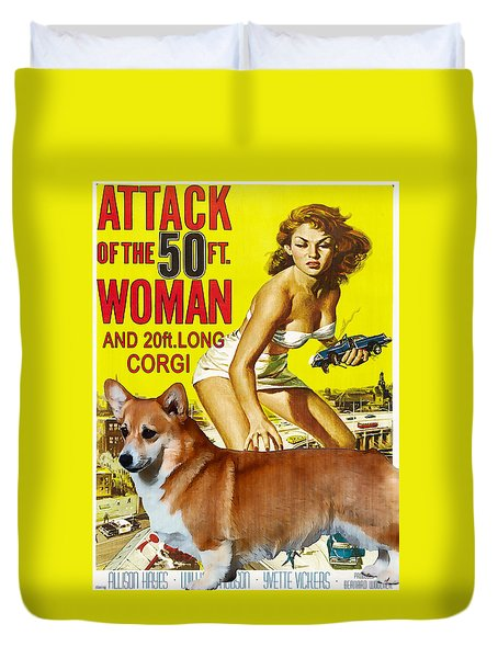 Welsh Corgi Pembroke Art Canvas Print - Attack Of The 50ft Woman Movie Poster Duvet Cover