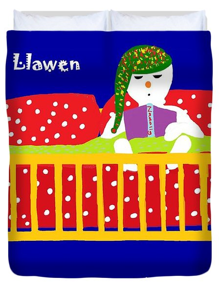Duvet Cover featuring the digital art Welsh Snowman Bedtime  by Barbara Moignard