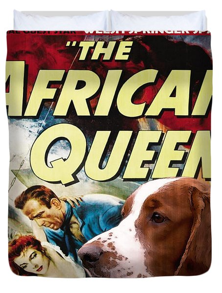 Welsh Springer Spaniel Art Canvas Print - The African Queen Movie Poster Duvet Cover
