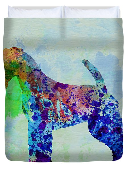 Welsh Terrier Watercolor Duvet Cover