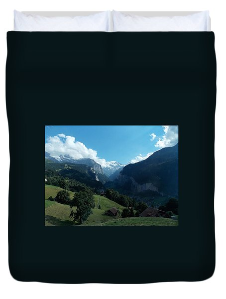 Wengen View Of The Alps Duvet Cover