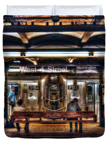 West 4th Street Subway Duvet Cover by Randy Aveille
