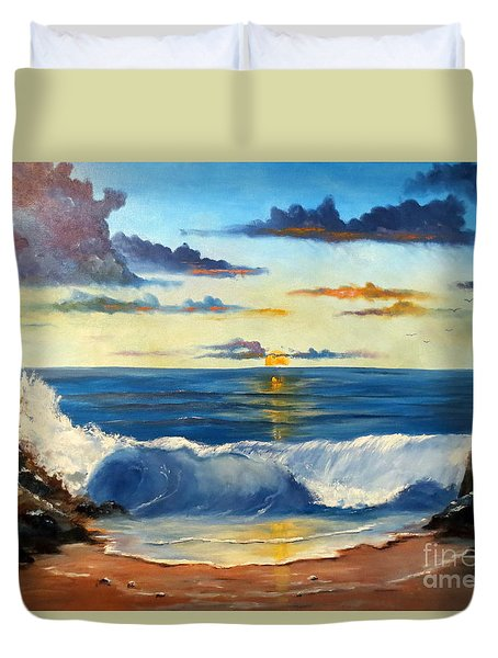 Duvet Cover featuring the painting West Coast Sunset by Lee Piper