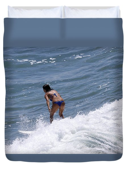 West Coast Surfer Girl Duvet Cover by Duncan Selby