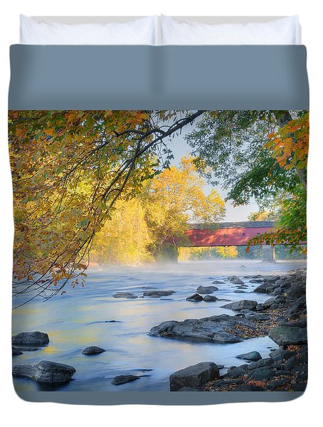 Duvet Cover featuring the photograph West Cornwall Covered Bridge Autumn by Bill Wakeley
