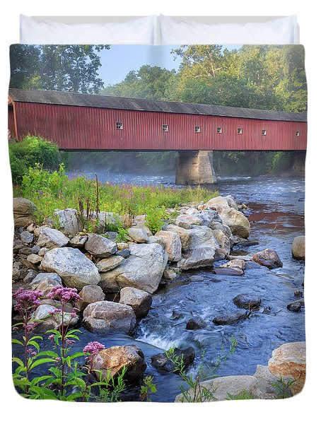 West Cornwall Covered Bridge Square Duvet Cover