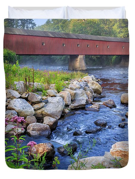 Duvet Cover featuring the photograph West Cornwall Covered Bridge Summer by Bill Wakeley