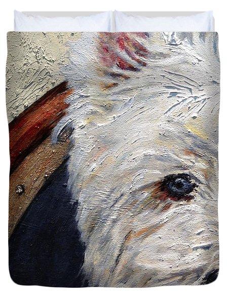 West Highland Terrier Dog Portrait Duvet Cover by Enzie Shahmiri