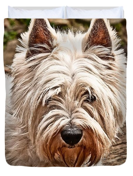 Duvet Cover featuring the photograph West Highland White Terrier by Robert L Jackson