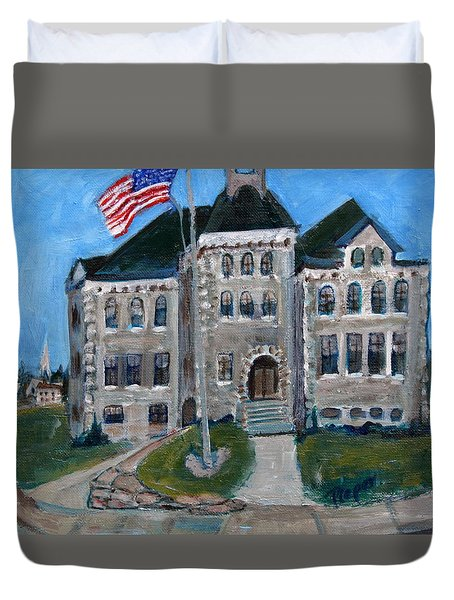 West Hill School In Canajoharie New York Duvet Cover by Betty Pieper