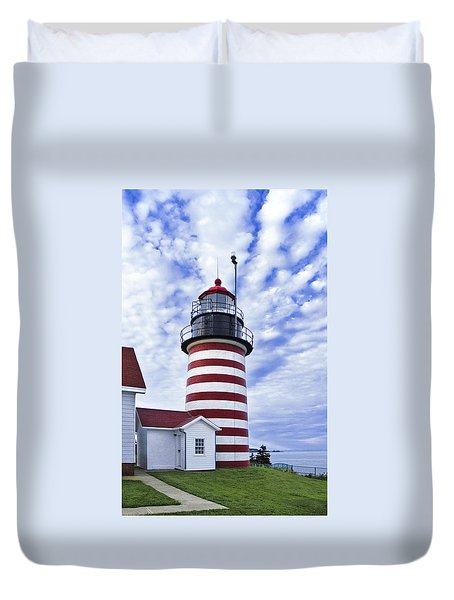 West Quoddy Head Lighthouse And Clouds Duvet Cover by Marty Saccone