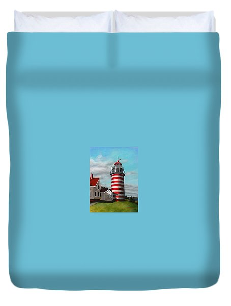 West Quoddy Head Lighthouse Duvet Cover by Eileen Patten Oliver