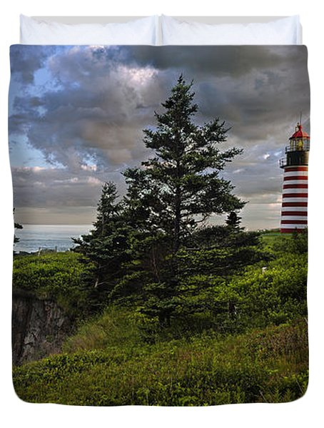West Quoddy Head Lighthouse Panorama Duvet Cover