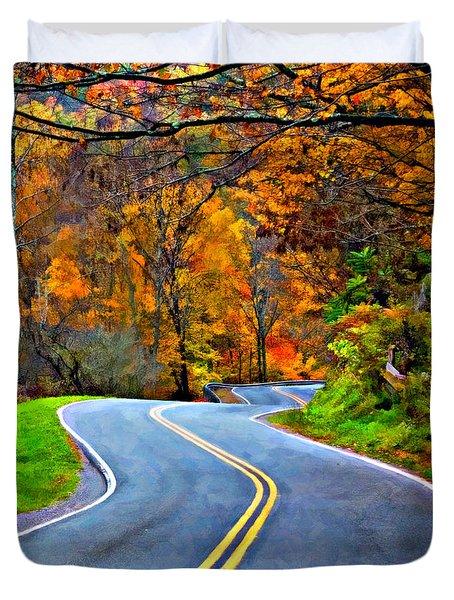 West Virginia Curves 2 Oil Duvet Cover by Steve Harrington