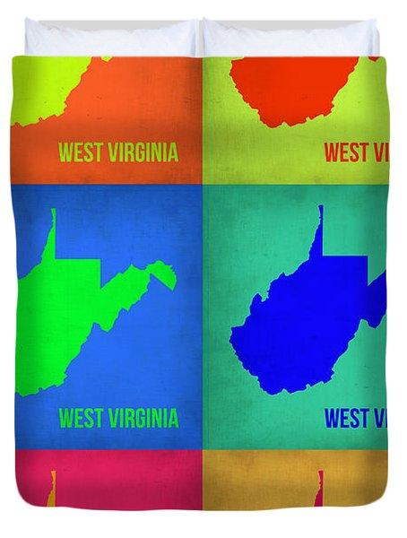 West Virginia Pop Art Map 1 Duvet Cover by Naxart Studio
