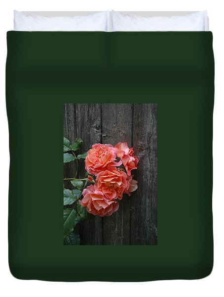 Duvet Cover featuring the photograph Westerland Rose Wood Fence by Tom Wurl